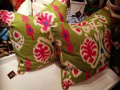bright bold ikat pillows.