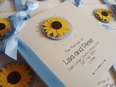 Sunflower Order of Service Booklets - perfect for summer weddings www.ohsopurrfect.co.uk
