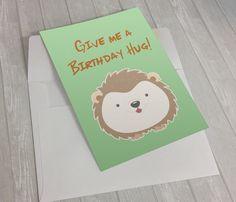 Give me a birthday hug!  #FunnyBirthdayCard #CuteBirthdayCard #BirthdayCard #Kawaii #Etsy #illustration #GreetingCard #Porcupine #Cartoon