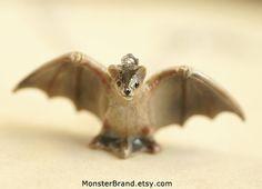 Bat Necklace, Ceramic Vampire Bat Jewelry, Halloween Animal Charm, Hand Painted Fruit Bat Necklace