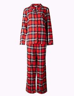 Kariertes Schlafanzugset aus reiner Baumwolle mit langen Ärmeln