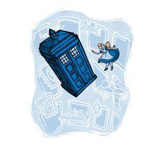 Falling, Doctor Who / Alice in Wonderland Shirt Geek Shirts, Cool T Shirts, Alice In Wonderland Shirts, Tardis Art, Best T Shirt Designs, Geek Humor, Geek Out, Disney Love, Disney Nerd