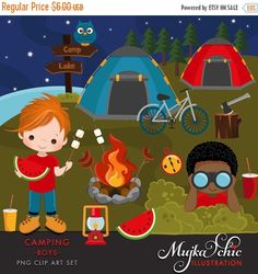Camping Clipart For Boys Campground Tents Camp Fire Lantern Kids Eating Watermelon Campers Nature Outdoors African American