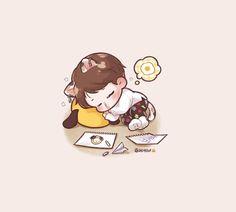 Kpop Drawings, Cartoon Drawings, J Hope Gif, Neji And Tenten, Park Jimin Cute, Jimin Fanart, Chibi Characters, Dibujos Cute, Bts Aesthetic Pictures