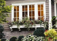 I love the grayish brown siding with use of decorative molding? Consider planter box under master bedroom window.