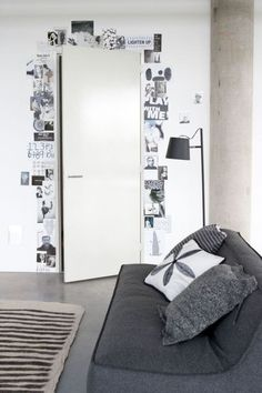 This would be great in a living room. So you dont see it as you walk in but you see it when you sit down - pictures framing the door - little inspiration place? place for notes and thoughts