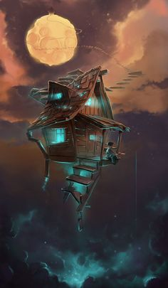 Trendy Ideas for tree house illustration concept art Fantasy Places, Fantasy World, Dream Fantasy, Dream Art, House Illustration, Digital Illustration, Art Illustrations, Fantasy Artwork, Anime Art Fantasy
