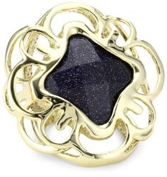 Kendra Scott Blue Goldstone Wallace Ring, Size 6