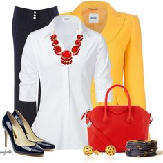 """Navy/Yellow/Red Combo, would never have thought of yellow Casual Outfits, Fashion Outfits, Trouser Outfits, Office Outfits, Navy Blue Heels, Black Shoes, Navy Pants Outfit, Outfit Creator, Professional Outfits"