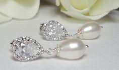 Pearl Earrings  Sterling silver  Cubic by QueenMeJewelryLLC, $29.99