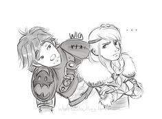 Hiccup seeing if he could cheer Astrid up It looks like a Hiccstrid version of 'Are you pouting big baby boo?'