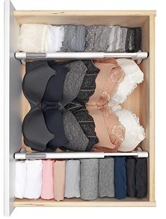 Organization bedroom - These drawers dividers help organize any drawer and are easy to install requiring no tools! Make organizing, tidying, simplifying and decluttering your bedroom fun and easy with these musthave Master Bedroom Drawers, Closet Bedroom, Bedroom Fun, Master Bedroom, Bedroom Storage, Bra Storage, Closet Storage, Drawers For Closet, Handbag Storage