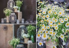diy rustic country wildflower centerpieces at Stone Brewery wedding in San Diego by Ohana Photographers
