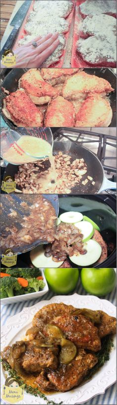 Crock Pot Pork Chops - step-by-step photo tutorial to making these super tender and delicious pork chops with apples in the crock pot. ♥