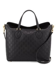 Gucci Guccissima Leather Top-Handle Bag, Black