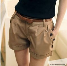 2013 Summer Fashion shorts womens Turn-up Cuffs Buttons Pleated Hot Shorts Pants With free Belt/S-XXXL/Khaki Blue/Free Shipping