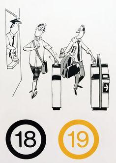 Mid-Century Inspired Illustrations ::: Commuting : www.dutchuncle.co.uk/satoshi-hashimoto