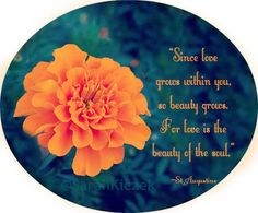 """Since love grows within you, so beauty grows. For love is the beauty of the soul."" --St Augustine"