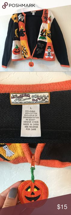 Vintage Halloween Sweater Super cute, festive Halloween zip up sweater. Found at the thrift store! I only wore it once and I'm hoping it'll find a new home! Super cute pumpkin charm on the zipper, also it's not faded at all the lighting just looks weird in one of the photos. +Offers welcome Sweaters