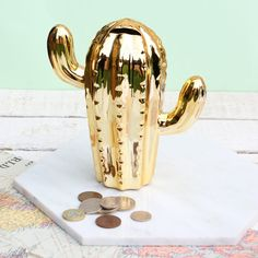 Gold Cactus Money Pot Savings Jar, Money Box, New Home Gifts, Special Events, Cactus, Tableware, Gold, Gifts For New Home, Prickly Pear Cactus