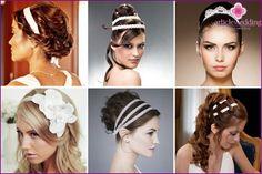 Χτένισμα του γάμου με κορδέλα στα μαλλιά: φωτογραφία επιλογές στυλ