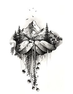 Original ink and watercolor illustrations inspired by wild places and creatures Pencil Art Drawings, Cool Art Drawings, Art Drawings Sketches, Tattoo Drawings, Cute Tattoos, Body Art Tattoos, Sleeve Tattoos, Female Hand Tattoos, Natur Tattoos