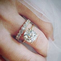 Plain band solitaire engagement ring and diamond wedding band Engagement Solitaire, Wedding Engagement, Diamond Wedding Rings, Diamond Rings, Unique Wedding Bands, Wedding Band Sets, Trendy Wedding, The Bling Ring, Gold Ring