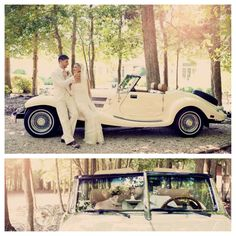 Wedding picture with old timey car! Plus we know someone with a car like this... look at the next photo...