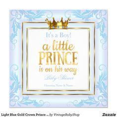 Light Blue Gold Crown Prince Baby Shower Boy Invitation