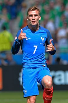 Antoine Griezmann of France reacts after scoring during the UEFA Euro 2016 round of 16 match between France and the Republic of Ireland at Stade des Lumieres on June 26, 2016 in Lyon, France.