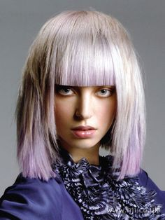 white and lilac with blunt bangs via Hair Color Ideas