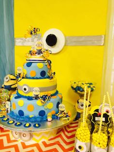 Awesome cake at a Despicable Me birthday party! See more party planning ideas at CatchMyParty.com!