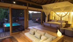 Vumbura Plains Camp in Botswana is a luxury safari camp situated in a private concession in the extreme north of the Okavango Delta and offers 14 stylish rooms. Safari, Luxury Private Jets, Private Pool, Luxury Tents, Dream Bedroom, Master Bedroom, Master Suite, Beautiful Space, Lodges