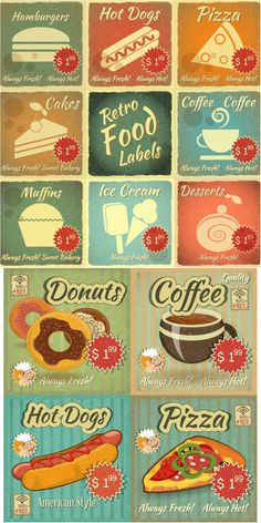 Retro food labels with price vector. Illustrator file .ai FREE - Download