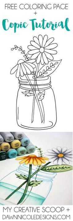 How to Color Water and Glass with Copic Markers + a FREE Coloring Page!