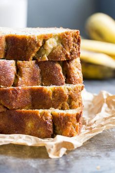 This paleo banana bread is hearty, soft and moist yet made with no grains or dairy and contains no added sweetener - the bananas are all you need!
