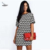 Stylish New Summer Style Ladies Women Chiffon Casual Round Neck Loose Short Sleeve Dress Geometry Print Plus Size 35
