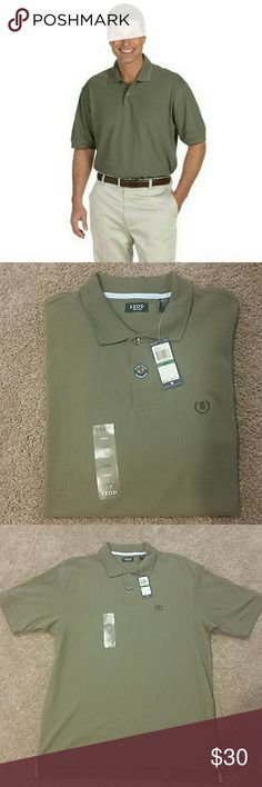 Silk Wash Izod Polo Handsome olive green color. Features a no roll collar with woodtone buttons. Made of 100% cotton. Izod Shirts Polos
