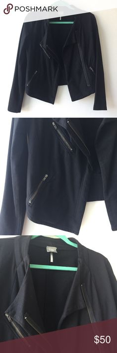 Bobi LA cotton moto jacket Super stylish cotton moto jacket from Bobi LA, black color, functional pockets, size XS. Worn once and hand washed, excellent condition! Great for spring and summer. Listed as FP for exposure. Free People Jackets & Coats