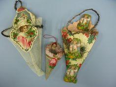 victorian christmas decorations | THREE VICTORIAN CHRISTMAS CONE CORNUCOPIA ORNAMENTS : Lot 905