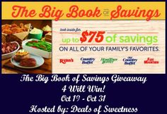 The Big Book of Savings Giveaway (ends 10/31) USA -gt:  The Big Book of Savings Giveaway Sponsored by Ryan's, HomeTown Buffet, and Old Country Buffet Hosted by Deals of Sweetness Co-Hosted by Pea of Sweet... ~  http://www.singlemommies.net/2014/10/big-book-savings-giveaway-ends-1031-usa-gt/