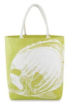 "Mud Pie Atlantis Jute Tote, Citrine Angel Fish. Printed sea life icon. Cotton web handles. Laminated wipe-clean interior. Interior pocket. Size: 18"" x 22"" x 8""."