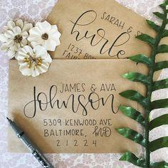 The Rachel – Black, Gold, or Silver Ink - İnvitation Envelope Hand Lettering Envelopes, Calligraphy Envelope, Envelope Art, Envelope Design, Wedding Calligraphy, Brush Lettering, Modern Calligraphy, Calligraphy Christmas, Calligraphy Cards