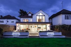 Create a WOW factor space, add glamour and fun and give the house a street side and garden side, both different. House Extension Plans, House Extension Design, Rear Extension, Extension Ideas, House Cladding, House Siding, Bungalow Extensions, House Extensions, Portfolio Architect