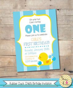 Rubber duck birthday invitation Printable boy birthday invite Boy 1st birthday Baby first birthday ideas Rubber ducky theme Baby blue stripe