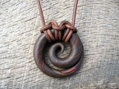 Spiral pendant polymer clay mens tribal surfer by thehappymushroom, £6.50