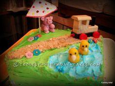 Farm Themed Birthday Cake... This website is the Pinterest of birthday cake ideas
