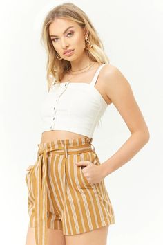 Product Name:Striped Paperbag-Waist Shorts, Category:bottoms, Price:17.9