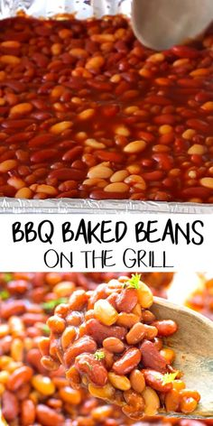 These Easy BBQ Baked Beans On the Grill are Loaded with three different types of beans! The addition of barbecue sauce to these grilled baked beans takes them up a notch. If you are looking for an easy grilled side dish this is your answer! Canned Baked Beans, Easy Baked Beans, Grilled Side Dishes, Steak Side Dishes, Bean Recipes, Side Dish Recipes, Dinner Recipes, Grilling Recipes, Cooking Recipes