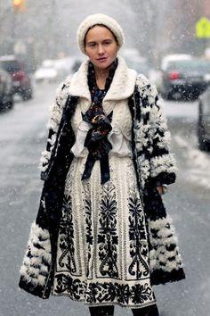 Coat and skirt. Olya Thompson (US) 2010 Fall/Winter, New York Fashion Week, Women's Fashion Folk Fashion, Fashion Week, New York Fashion, Winter Fashion, Womens Fashion, Fashion Tips, Ethno Style, Bohemian Style, Boho